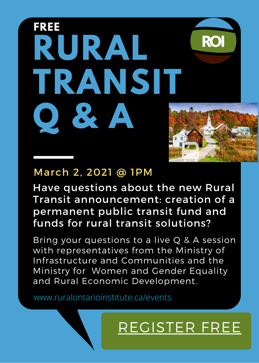 Rural Transit Q and A Webinar banner image advertising the free March 2, 2021 webinar at 1 PM.